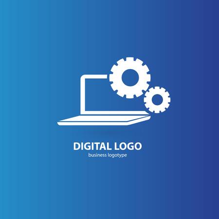Logo design abstract computer repair vector template. Illustration