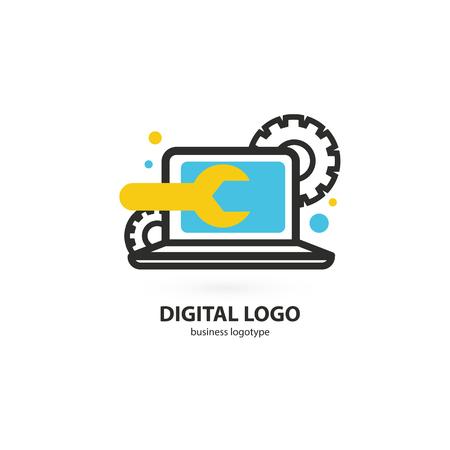 Afbeelding ontwerp van logo zakelijke desktop-software. Vector computer web icoon.