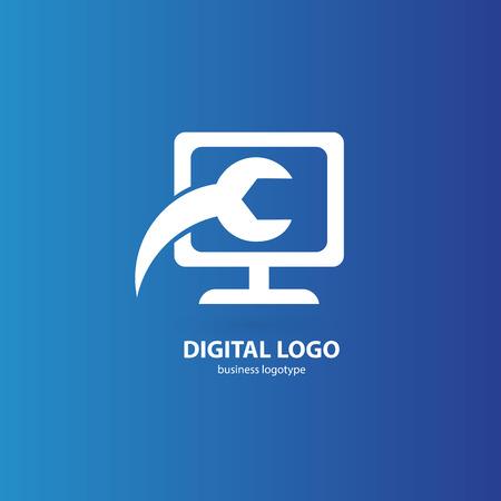 Illustration design of logotype business desktop software. Vector computer web icon.