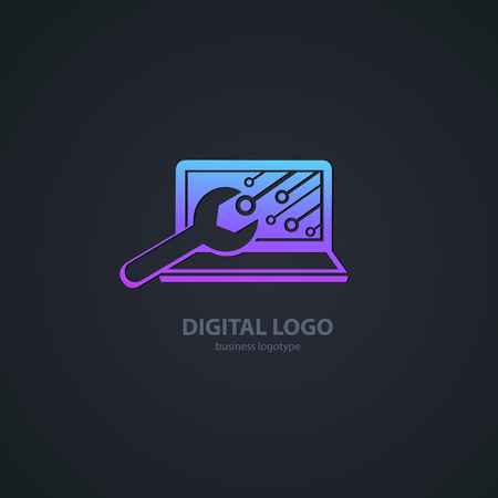 Logo design abstract computer repair vector template. Illustration