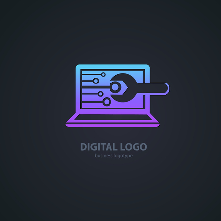 Logo design abstract computer repair vector template. Иллюстрация