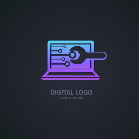 Logo design abstract computer repair vector template. Vettoriali