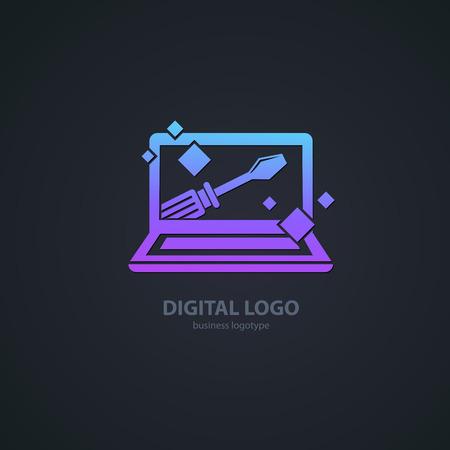 Illustratieontwerp van logo zakelijke desktop software. Vector computer web pictogram.