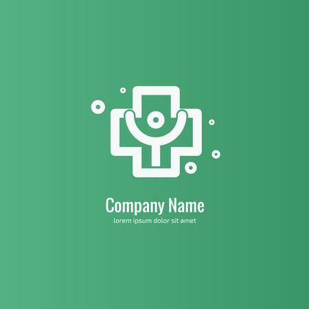 Illustration design of business logotype clinic. Vector people and cross web icon. Ilustracja