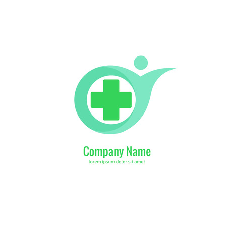 Illustration design of healthcare business logotype vector with abstract people and cross web icon