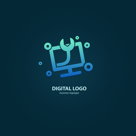 Illustration design of logotype business desktop software. Vector computer web icon.