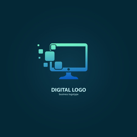 Illustration design of logotype business web marketing. Vector computer web icon. Illustration