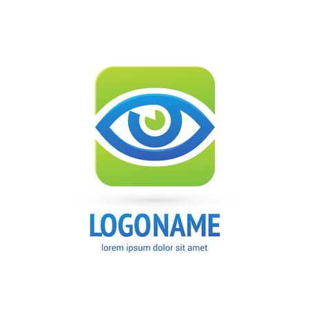 Illustration design of logotype business oculist clinic flat symbol.. inspiration pictogram