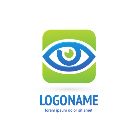 Illustration design of logotype business oculist clinic flat symbol.. inspiration pictogram