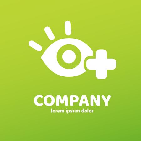 Illustration design of logotype business oculist clinic flat symbol. Eye and cross web icon. Correction of vision pictogram