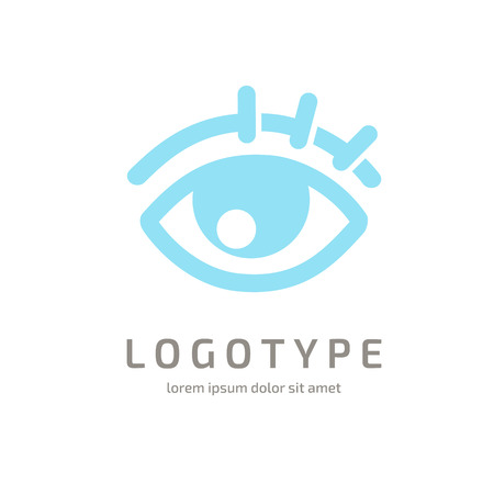 Illustration design of logotype business oculist clinic flat symbol. inspiration pictogram