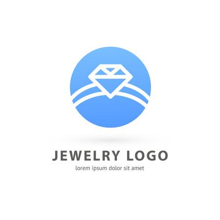 Illustration design of logotype business luxury jewelry symbol. Vector diamond ring line web icon.