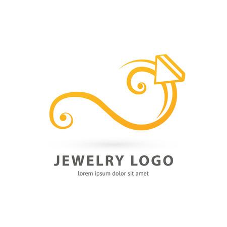 Illustration design of logotype business luxury jewelry symbol. Vector diamond ring web icon. Illustration