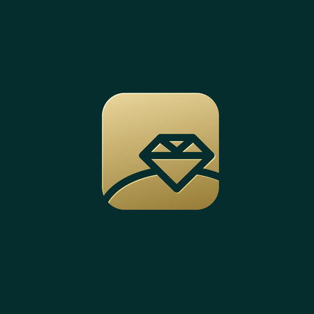 Illustration design business luxury jewelry symbol. Vector diamond ring line web icon. Ilustração