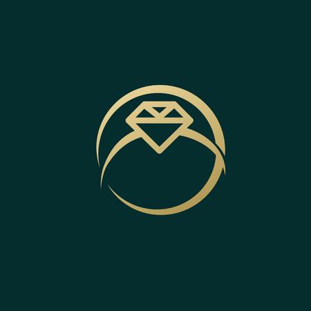 Illustration design  business luxury jewelry symbol. Vector diamond ring line web icon. Illustration