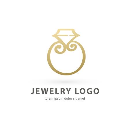 Illustration design of logotype business luxury jewelry symbol. Vector diamond ring web icon. Vettoriali