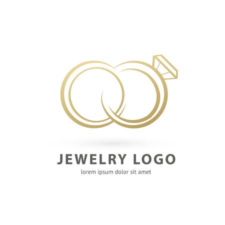 Disegno dell'illustrazione del simbolo di gioielli di lusso di affari logotipo. Icona di web anello di diamanti di vettore.