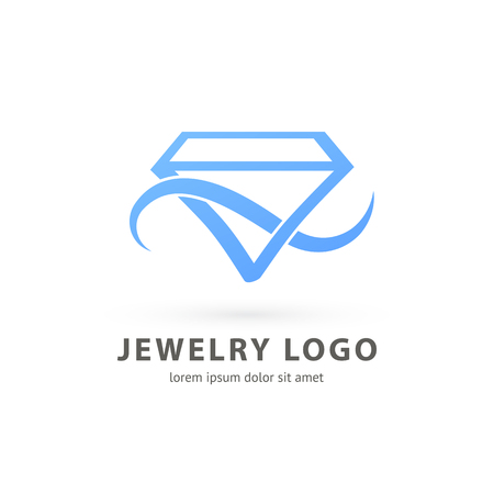 Illustration design of logotype business luxury jewelry symbol. Vector diamond accessories web icon. Ilustração