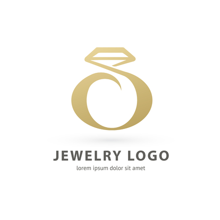 Illustration design of logotype business luxury jewelry symbol. Vector diamond ring web icon. Ilustração