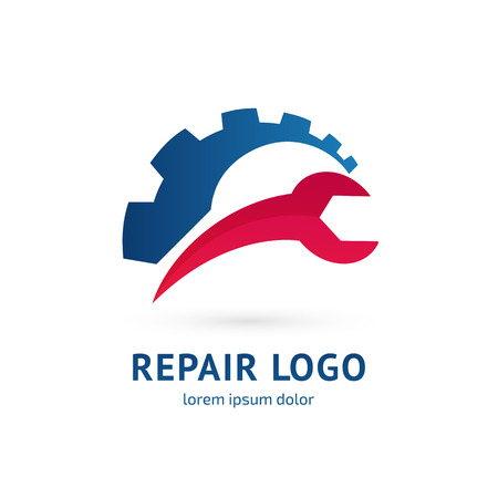 Illustration design of logotype business spanner and nut symbol. Vector web work tool icon.