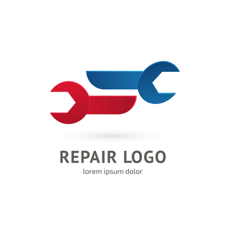 Illustration design of logotype business spanner symbol. Vector web work tool icon.