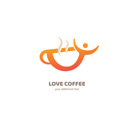 Illustration design of logotype business coffee. Vector cup with drink icon. Vectores
