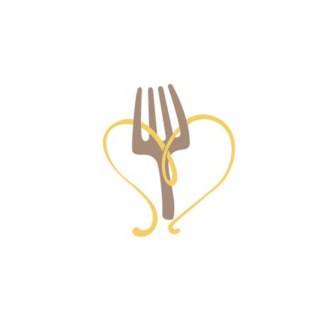Illustration design of minimalistic, simple logotype italian restaurant. Vector icon fork with spaghetti.