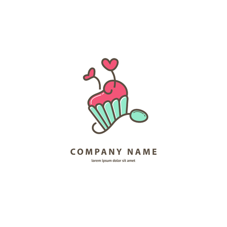 Illustration design of monoline logotype candy store. Vector icon sweet cake.
