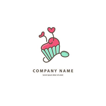 Illustration design of monoline logotype candy store. Vector icon sweet cake.