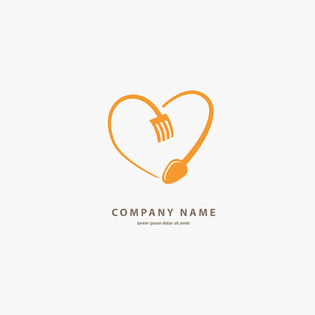 Illustration design of logotype business cooking. Vector nutrition web icon.
