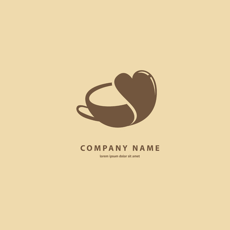 Illustration design of silhouette brown logotype coffee. Vector icon cup with drink.