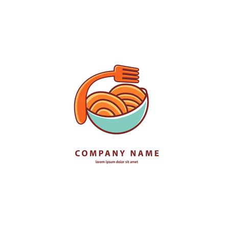 Illustration design of monoline, minimalistic, simple logotype italian restaurant. Vector icon plate with spaghetti.