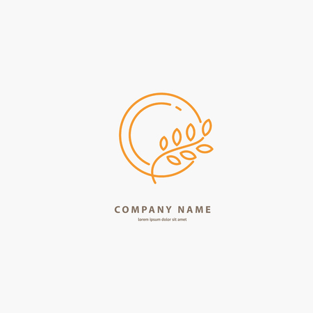 Illustration design of elegant line curve logotype bakery. Vector icon grain wheat on plate. 일러스트