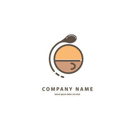 Illustration design of monoline, minimalistic, simple logotype coffee. Vector icon cup with drink. 向量圖像