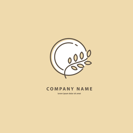 Illustration design of elegant line curve logotype bakery. Vector icon grain wheat on plate. Illustration