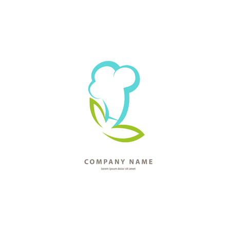 Illustration design of monoline logotype vegan cafe. Vector icon leaf on plate. Illusztráció
