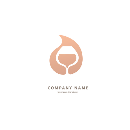 Illustration design of elegant logotype wine store. Vector icon for restaurant menu. Ilustração