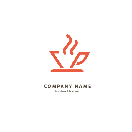 Illustration design of monoline, minimalistic, simple logotype coffee. Vector icon cup with drink. Vectores