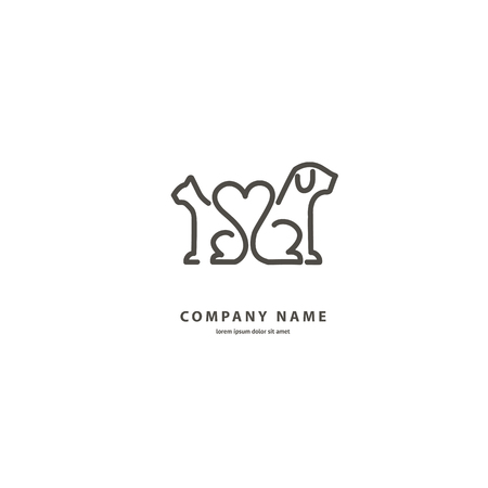 Illustration design outline, minimalist logotype for veterinary. Vector icon dog and cat. Stock Illustratie