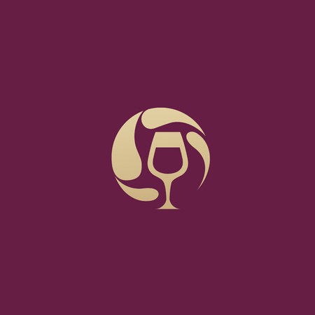 Illustration design of elegant logotype wine store on a dark claret background. Vector icon for restaurant menu.