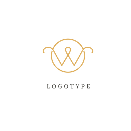 Letter W vector logo. Vintage Insignia and Logotype. Business sign, identity, label, badge of restaurant, Hotel. Vector wedding illustration.