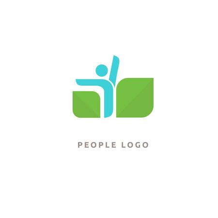 Vector illustration, Graphic Design Editable Design. Happy people with leafl logo. Fitness, sport web icon. Stock Illustratie