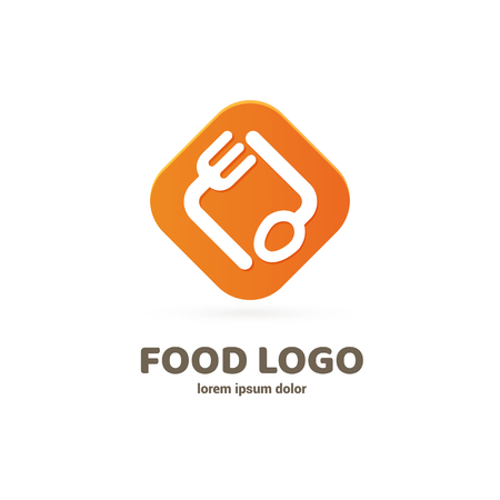 Graphic fork icon symbol for cafe, restaurant, cooking business. Modern catering label, emblem, badge Illustration