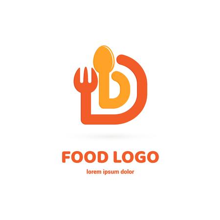 Graphic fork icon symbol for cafe, restaurant, cooking business. Modern catering label, emblem, badge Illustration