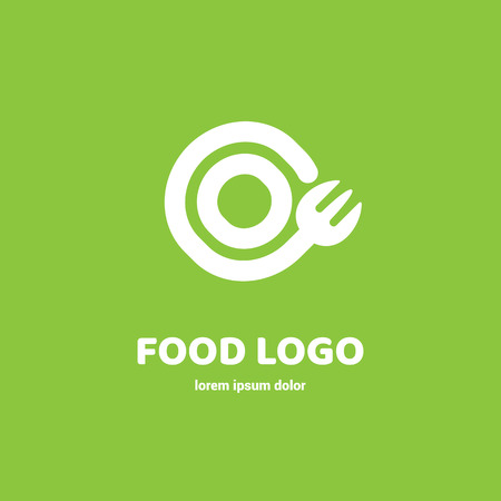 Graphic fork icon symbol for cafe, restaurant, cooking business. Modern catering label, emblem, badge Ilustração