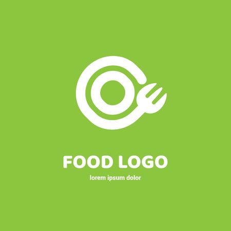 Graphic fork icon symbol for cafe, restaurant, cooking business. Modern catering label, emblem, badge Иллюстрация