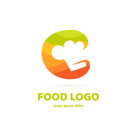 Graphic fork icon symbol for cafe, restaurant, cooking business. Modern catering label, emblem, badge Vettoriali
