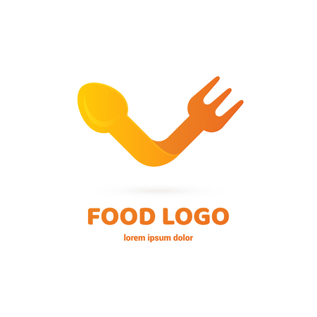 Graphic fork icon symbol for cafe, restaurant, cooking business. Modern catering label, emblem, badge Иллюстрация