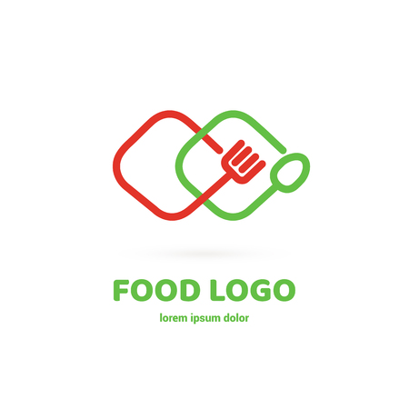 Graphic fork icon symbol for cafe, restaurant, cooking business. Modern catering label, emblem, badge Archivio Fotografico