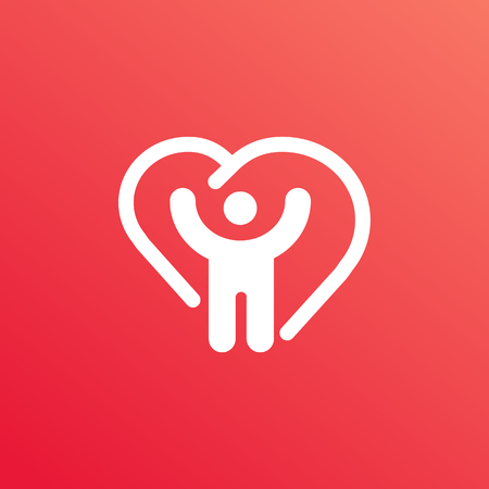 Illustration design of logotype man in love symbol. Vector happy man web icon. Ilustração